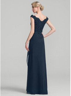 A-Line Off-the-Shoulder Floor-Length Chiffon Lace Mother of the Bride Dress With Beading Sequins Cascading Ruffles