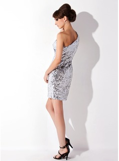 Sheath/Column One-Shoulder Short/Mini Sequined Cocktail Dress