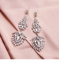Ladies' Elegant Alloy Rhinestone Earrings For Bride