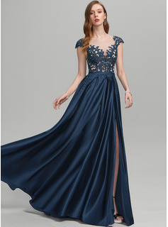 A-Line Scoop Neck Floor-Length Satin Prom Dresses With Beading Split Front