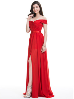A-Line/Princess Off-the-Shoulder Sweep Train Chiffon Evening Dress With Ruffle Split Front