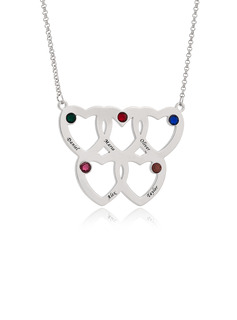 Custom Silver Engraving/Engraved Overlapping Five Birthstone Necklace Family Necklace With Heart - Birthday Gifts Mother's Day Gifts