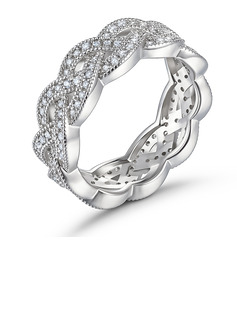 Intertwined Round Cut 925 Silver Women's Bands