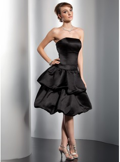 A-Line Strapless Knee-Length Satin Homecoming Dress With Ruffle Bow(s)