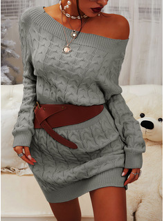 Round Neck Long Sleeves Solid Casual Long Sweater Dresses