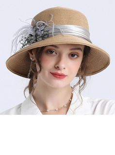 Ladies' Beautiful/Classic/Elegant Papyrus With Feather Straw Hats
