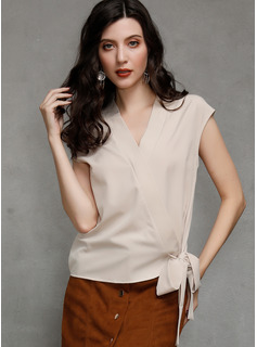 Sleeveless Polyester V Neck Blouses