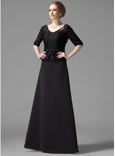 A-Line/Princess V-neck Floor-Length Satin Mother of the Bride Dress With Beading Bow(s)