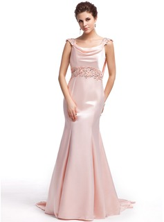 Trumpet/Mermaid Cowl Neck Sweep Train Charmeuse Evening Dress With Beading Appliques Lace