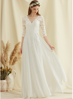 A-Line V-neck Floor-Length Chiffon Lace Wedding Dress