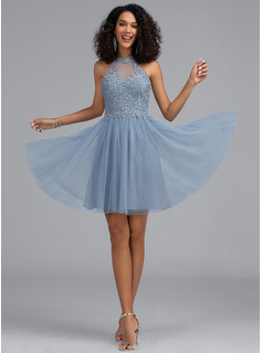 blue sequin short prom dress