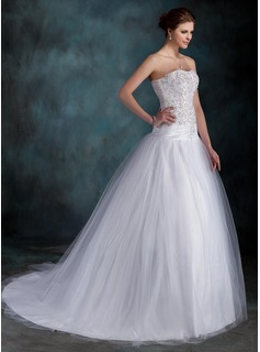 Ball-Gown Sweetheart Court Train Taffeta Tulle Wedding Dress With Ruffle Lace Beading