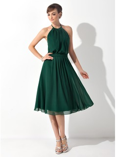 Halter Knee-Length Chiffon Bridesmaid Dress