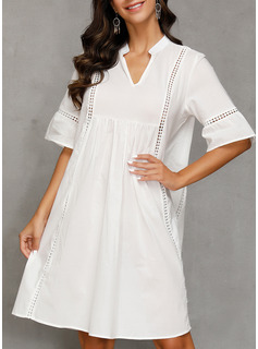 Polyester/Cotton With Lace/Solid Knee Length Dress