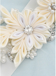 Polyester Sash With Flower/Lace/Rhinestones/Imitation Pearls