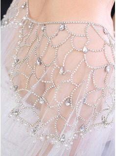 One-tier Cut Edge Chapel Bridal Veils/Cathedral Bridal Veils With Rhinestones