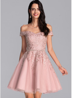 A-Line Off-the-Shoulder Short/Mini Tulle Prom Dresses With Beading Sequins