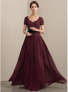 V-neck Floor-Length Chiffon Lace Mother of the Bride Dress With Sequins Pleated