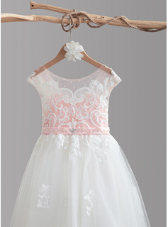 A-Line Asymmetrical Flower Girl Dress - Tulle Sleeveless Scalloped Neck With Beading/Rhinestone