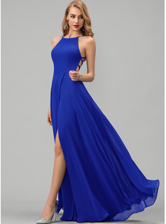 Scoop Neck Floor-Length Chiffon Prom Dresses With Split Front