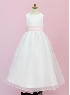 A-Line/Princess Floor-length Flower Girl Dress - Organza/Satin Sleeveless Scoop Neck With Sash/Flower(s)