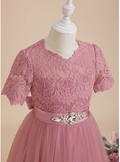 Ball-Gown/Princess Floor-length Flower Girl Dress - Satin/Tulle/Lace Short Sleeves Scoop Neck With Beading