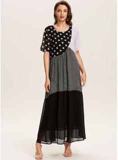 Polyester With Color-block/PolkaDot Maxi Dress