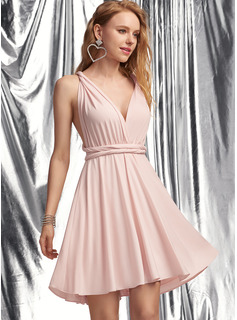 A-Line V-neck Short/Mini Jersey Prom Dresses