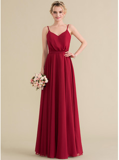 A-Line/Princess V-neck Floor-Length Chiffon Bridesmaid Dress With Bow(s)