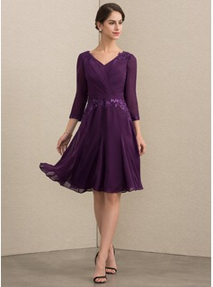 V-neck Knee-Length Chiffon Lace Mother of the Bride Dress With Sequins
