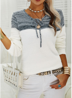 Round Neck Long Sleeves Color Block Casual Pullovers
