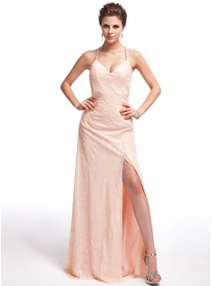 Sheath/Column Sweetheart Floor-Length Sequined Prom Dresses With Split Front