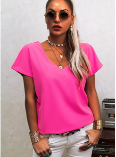 Regular Polyester V-Neck Solid Fitted Blouses