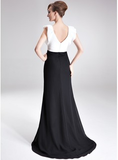 A-Line/Princess V-neck Sweep Train Chiffon Taffeta Mother of the Bride Dress With Beading Sequins Split Front