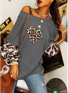 Regular Cotton Blends One Shoulder Print Heart Knit Blouses