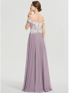 A-Line Off-the-Shoulder Floor-Length Chiffon Prom Dresses With Sequins Split Front