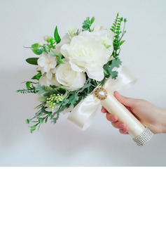 Classic Hand-tied Silk Flower/Linen Rope Bridal Bouquets (Sold in a single piece) - Bridal Bouquets
