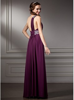 A-Line/Princess One-Shoulder Floor-Length Chiffon Prom Dresses With Ruffle Beading