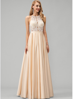 Scoop Neck Floor-Length Satin Prom Dresses With Lace Pockets