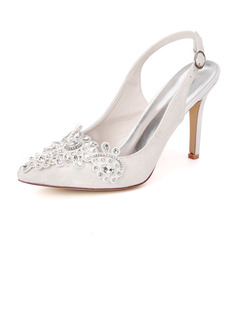 Women's Lace Satin Stiletto Heel Slingbacks With Rhinestone