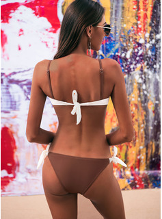 Sexy Attractive fresh Solid Color Low Waist Chinlon Bikinis