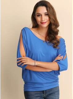 1/2 Sleeves Cotton Cold Shoulder Knit Blouses