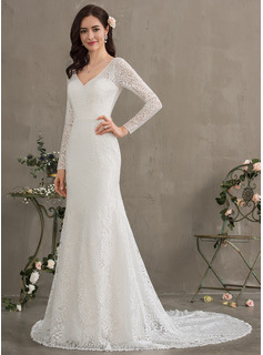 long sleeve chiffon wedding dress