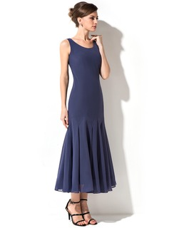 Trumpet/Mermaid Scoop Neck Tea-Length Chiffon Mother of the Bride Dress