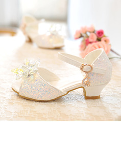 Girl's Peep Toe Leatherette Low Heel Sandals Flower Girl Shoes With Bowknot Buckle