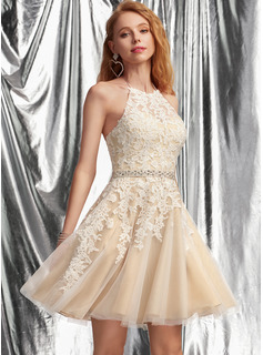 A-Line Halter Short/Mini Tulle Homecoming Dress With Lace Beading Sequins