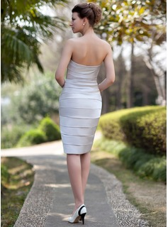 Sheath/Column Sweetheart Knee-Length Satin Mother of the Bride Dress With Ruffle Beading Split Front