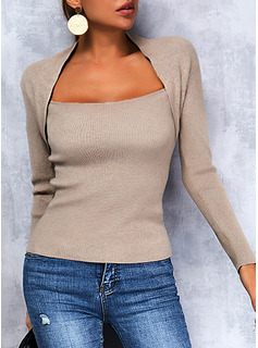 Square Collar Long Sleeves Regular Solid Casual Pullovers