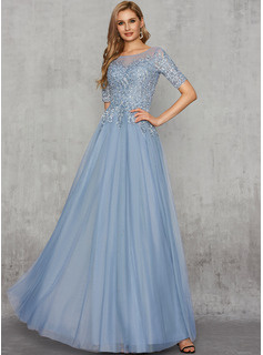 A-Line Scoop Neck Floor-Length Tulle Evening Dress With Beading Sequins