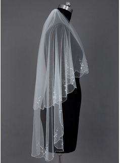 Two-tier Fingertip Bridal Veils With Scalloped Edge/Beaded Edge